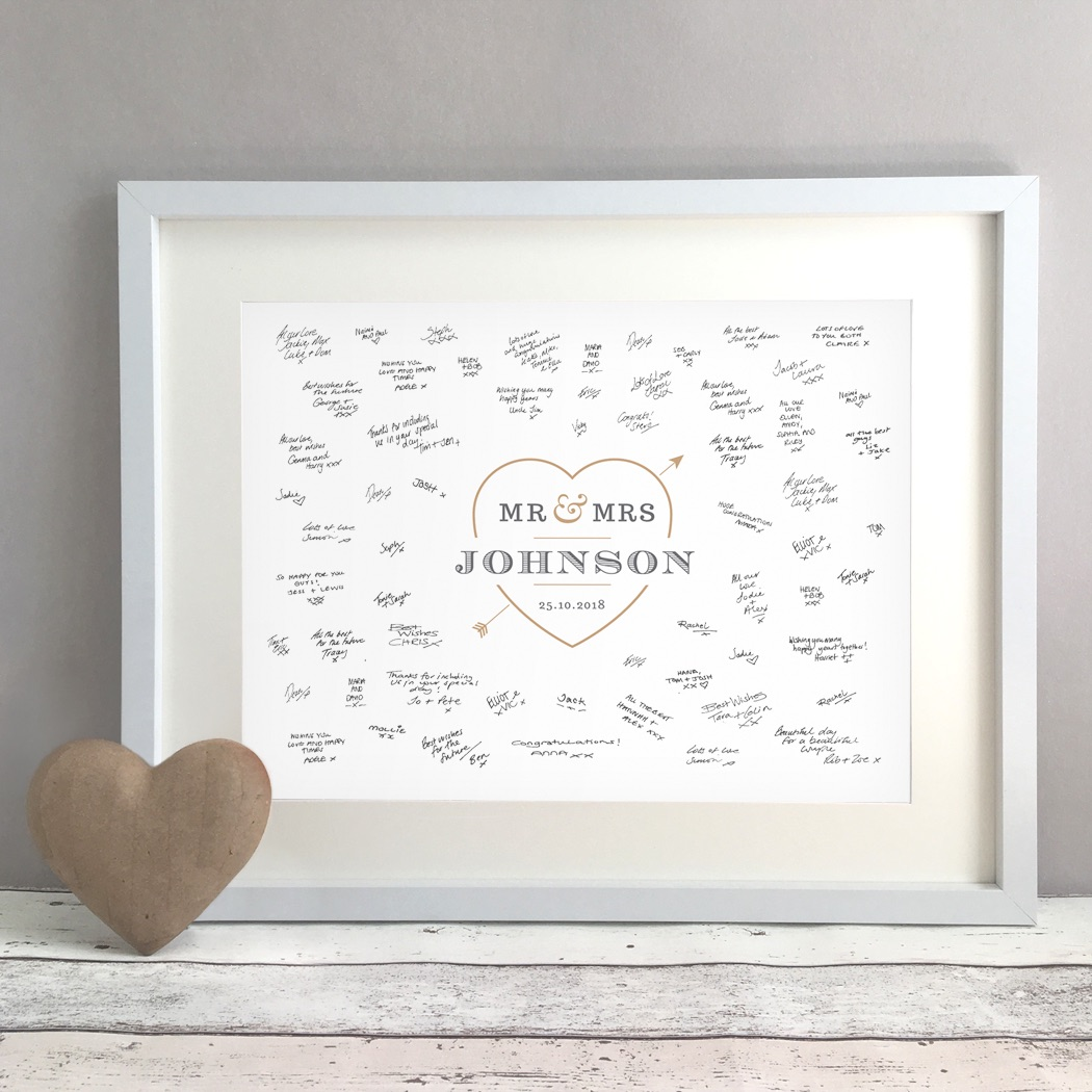 Love Heart Personalised Wedding Guest Book Print Alternative