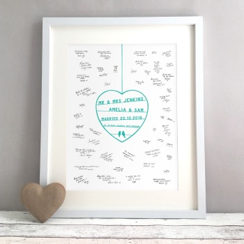 Papercut Style Personalised Wedding Guest Book Print Alternative