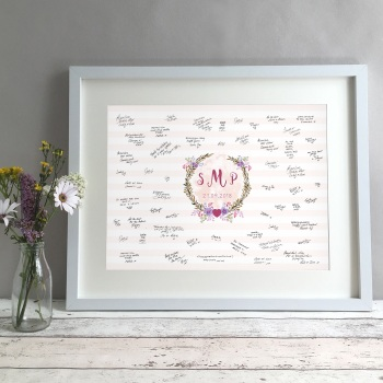 Floral Monogram Personalised Wedding Guest Book Print Alternative