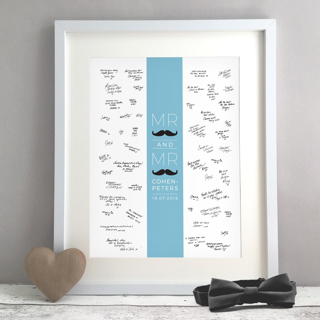 Moustache Personalised Gay Wedding Guest Book Print Alternative