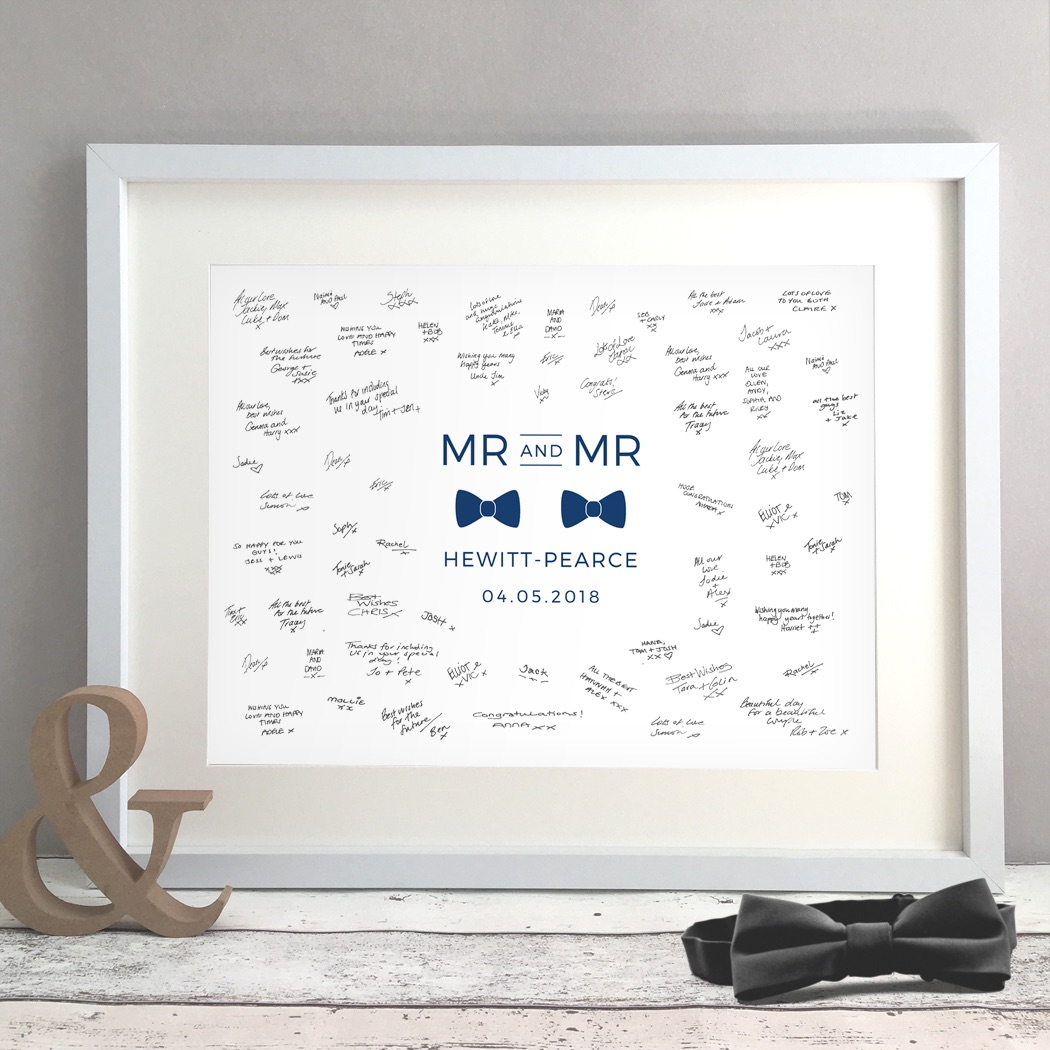 Bow Tie Personalised Gay Wedding Guest Book Print Alternative