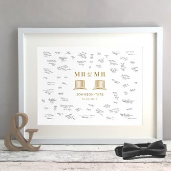 Top Hat Personalised Gay Wedding Guest Book Print Alternative
