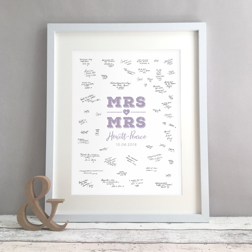 MRS & MRS Personalised Lesbian Wedding Guest Book Print Alternative