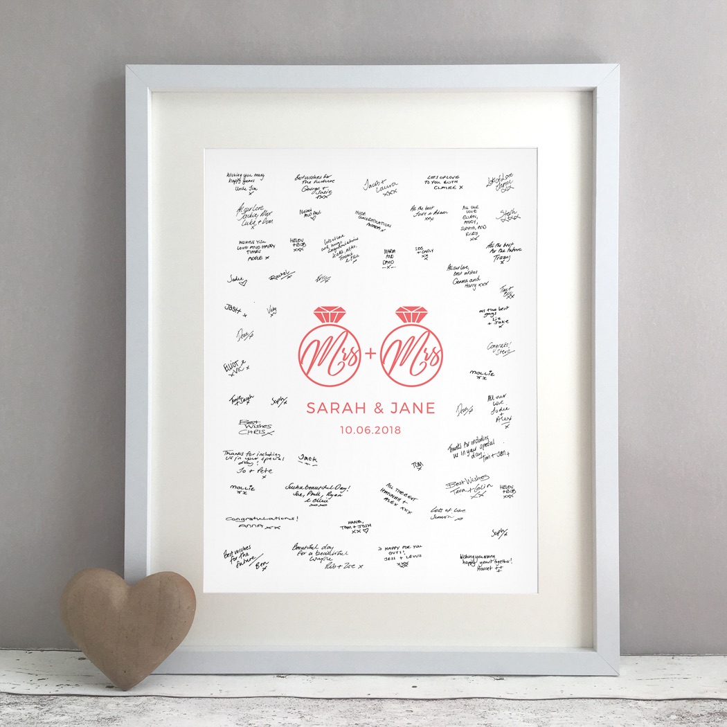 MRS Rings Personalised Lesbian Wedding Guest Book Print Alternative