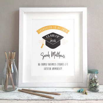 Personalised Graduation Cap Gift Print