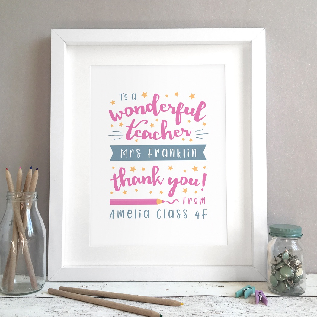 Wonderful Teacher Personalised Gift Print