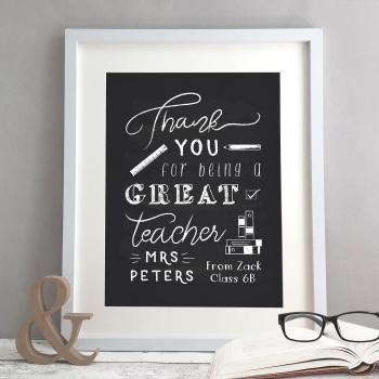 Teacher Gift Personalised Chalkboard Style Print