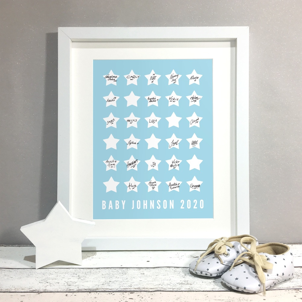 Stars Personalised Baby Shower Guest Book Print Alternative