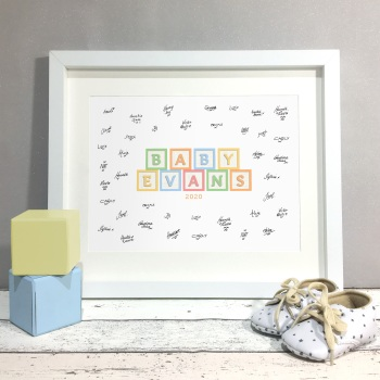 Baby Blocks Personalised Baby Shower Guest Book Print Alternative