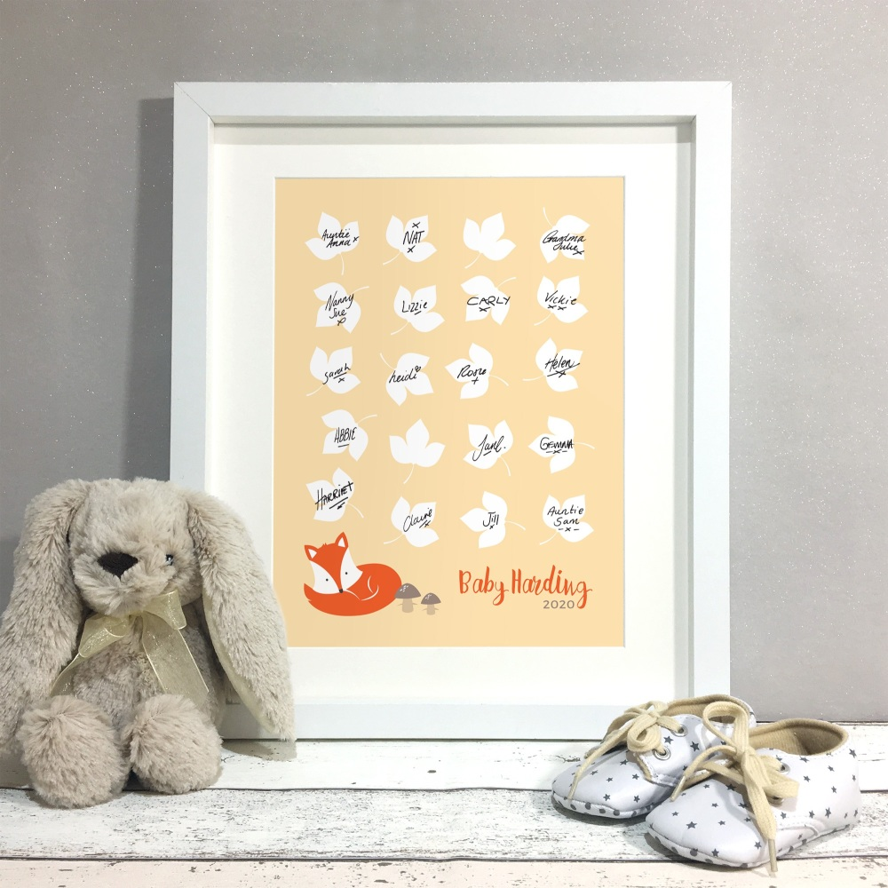Fox Woodland Personalised Baby Shower Guest Book Print Alternative