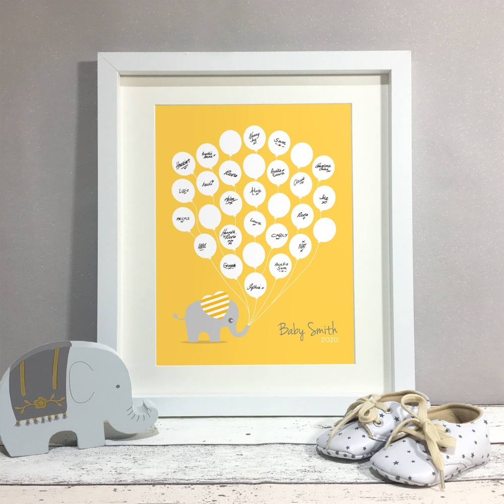 Elephant Balloons Personalised Baby Shower Guest Book Print Alternative