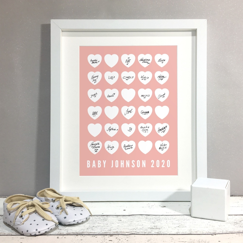 Hearts Personalised Baby Shower Guest Book Print Alternative