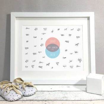 Family Venn Diagram Personalised Baby Shower Guest Book Print Alternative
