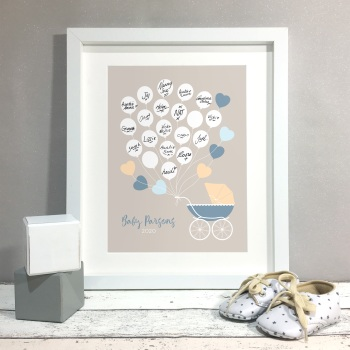 Pram Buggy Personalised Baby Shower Guest Book Print Alternative