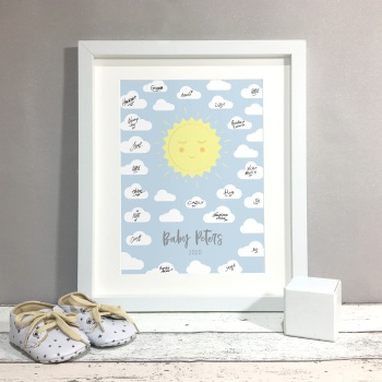 Sunshine Personalised Baby Shower Guest Book Print Alternative