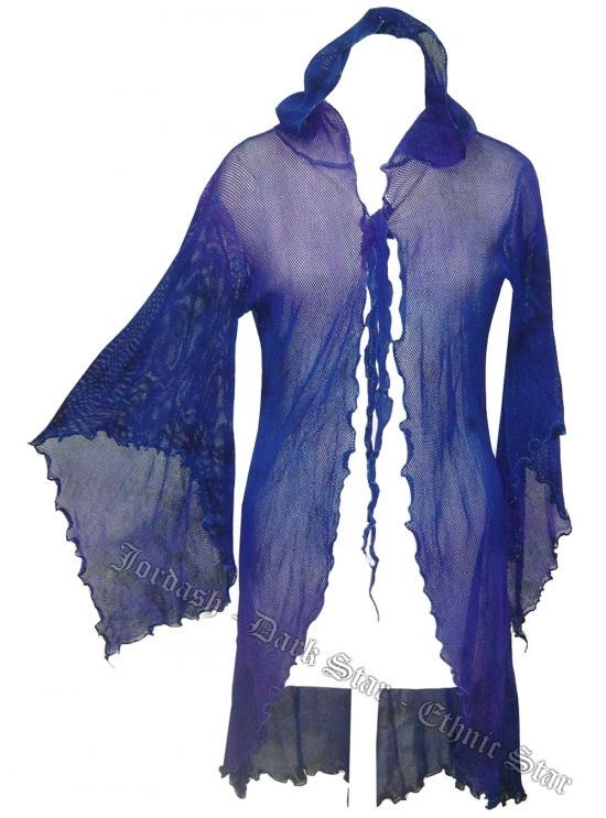 NET HOODED LONG JACKET By Jordash. ties at the front