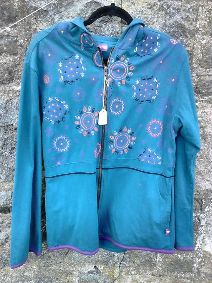 Namaste petrol blue embroidered hooded lined jacket, size Medium