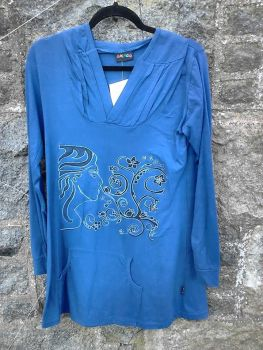 Embroidered Hooded long sleeve top in blue, size 12-14