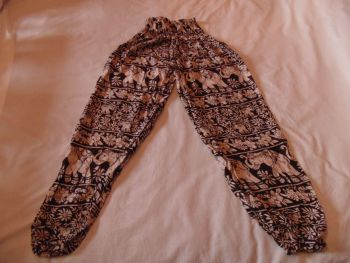 Elephant design rayon trousers.