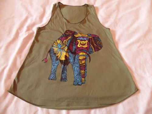 Olive green elephant print vest top