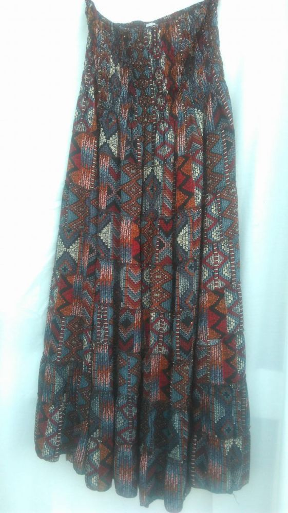 Aztec design strapless dress/long skirt L/XL ( Approx UK 14-18 )