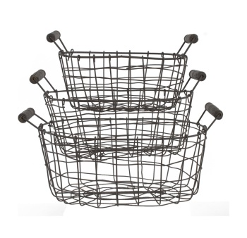 The Old Basket Company Grey Wire Basket - Set of 3