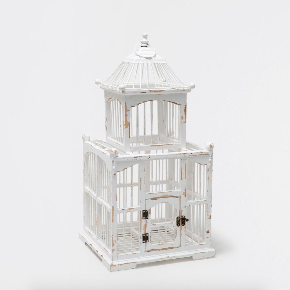 White Wooden Birdcage - 60cm