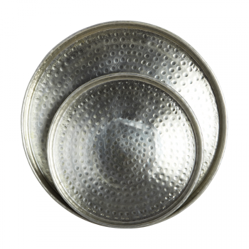 House Doctor Round Silver Hammered Tray - Large