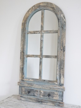 Rustic Arched Mirror With Hooks - 111cm