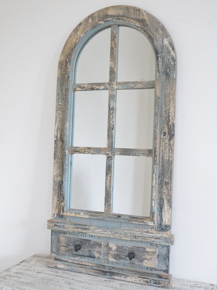 Rustic Arched Mirror With Hooks