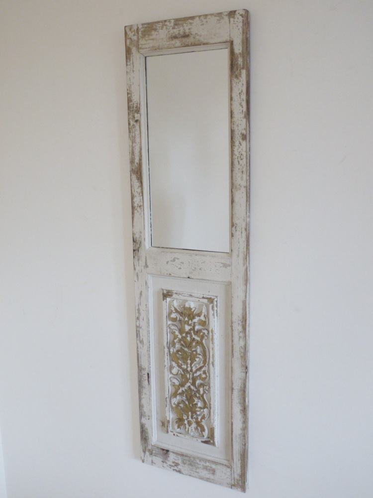 Antique French Style White Washed Panel Mirror - 120cm