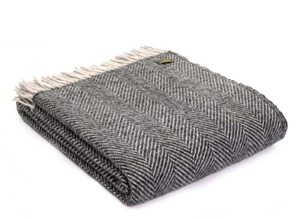 Tweedmill Herringbone Pure New Wool Throw - Charcoal Grey and Silver