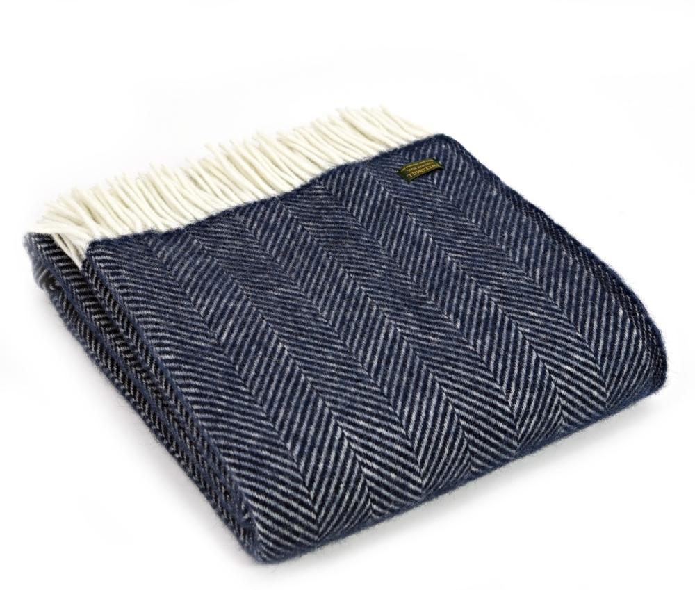 Tweedmill Fishbone Pure New Wool Throw - Blue