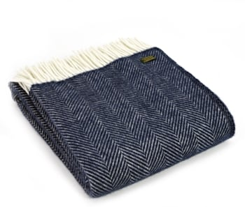 Tweedmill Fishbone Pure New Wool Throw - Navy