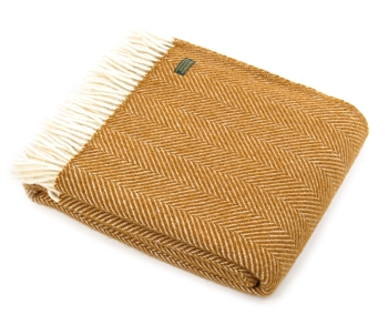 Tweedmill Fishbone Pure New Wool Throw - English Mustard