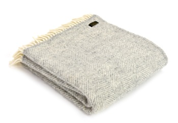 Tweedmill Fishbone Pure New Wool Throw - Grey