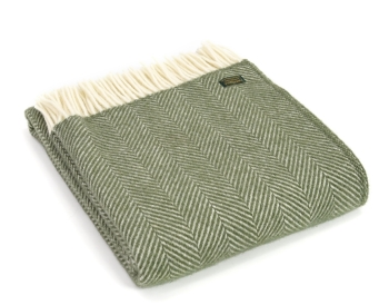 Tweedmill Fishbone Pure New Wool Throw - Olive