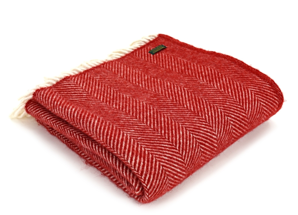 Tweedmill Fishbone Pure New Wool Throw - Red
