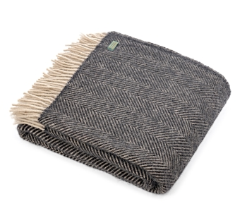 Tweedmill Herringbone Pure New Wool Throw - Vintage Charcoal