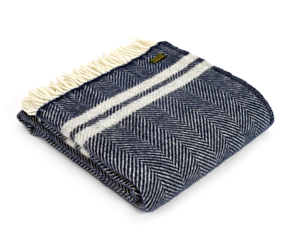 Tweedmill Herringbone Wool Throw - Blue and Grey Stripe