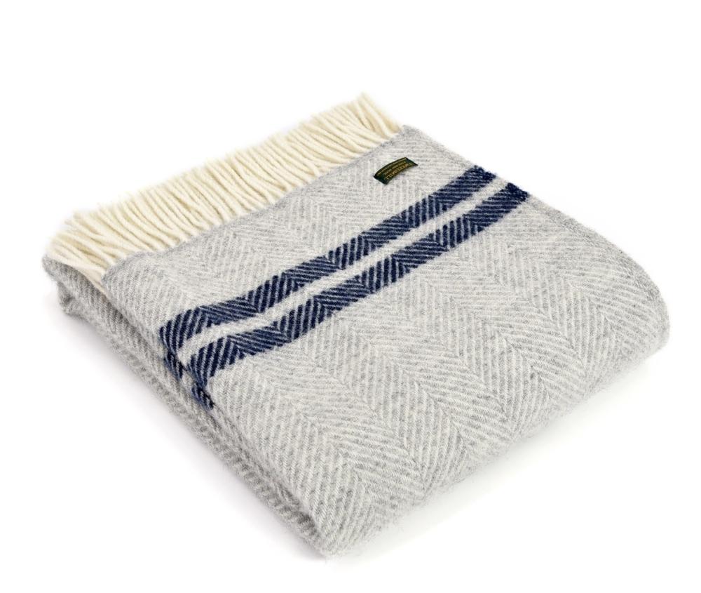 Tweedmill Herringbone Wool Throw - Grey and Blue Stripe