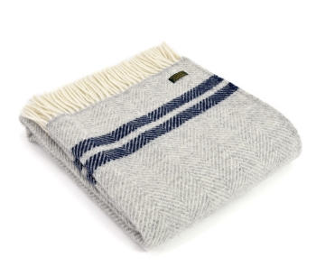 Tweedmill Fishbone Wool Throw - Grey and Blue Stripe