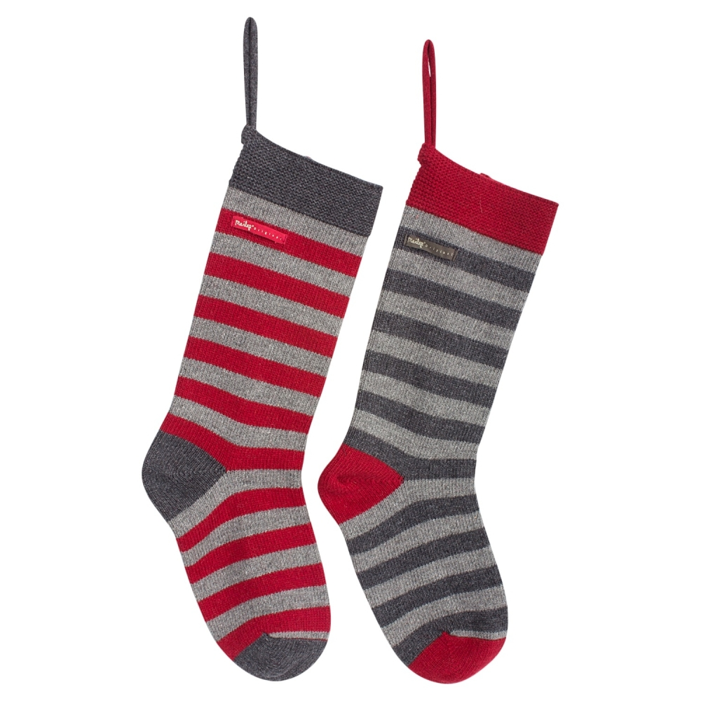 Maileg GREY Stripe Wool Christmas Sock - 52cm