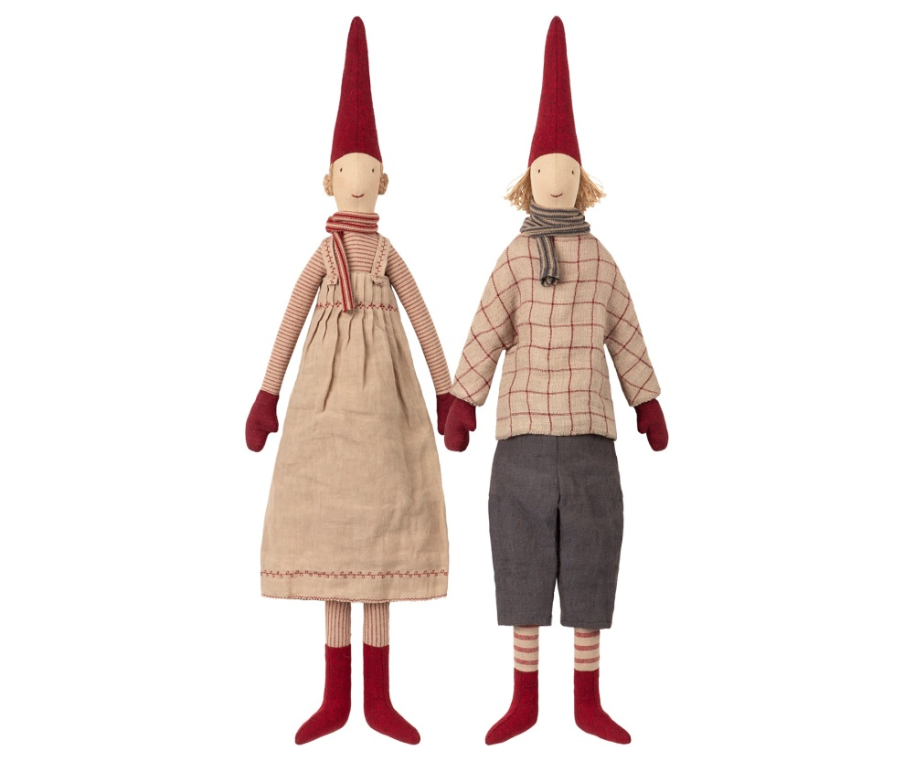Maileg Set of 2 Laura and Lars Christmas Pixies  - Maxi 65cm