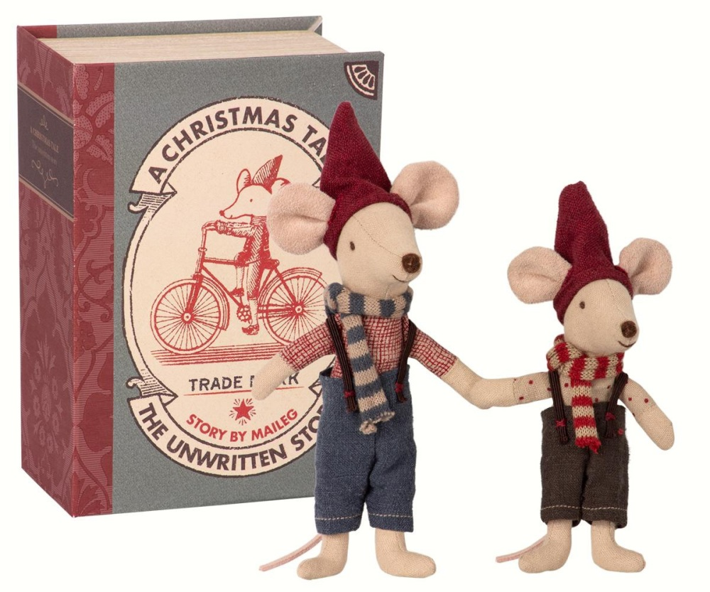 Maileg Christmas Mice in Book - Big Brother/Little brother