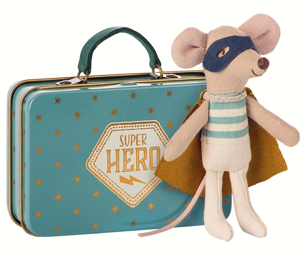 Maileg Super Hero Mouse With Suitcase