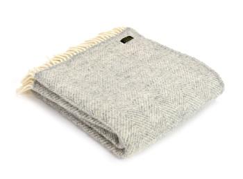 Tweedmill Fishbone Pure New Wool Knee Rug - Grey