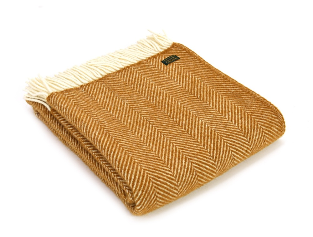 Tweedmill Fishbone Pure New Wool Knee Rug - English Mustard