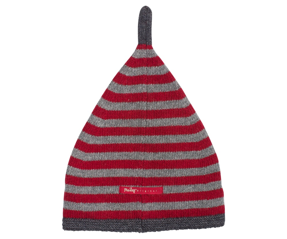 Maileg Red and Grey Stripe Wool Christmas Pixy Hat 4 - 6 years