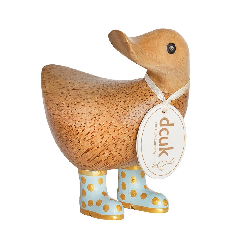 Dcuk Ducky with Blue and Gold Spotty Welly Boots 12cm